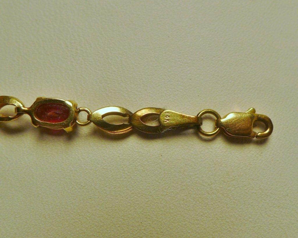Gold & Ruby Designer Tennis Bracelet - 7
