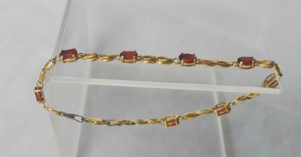 Gold & Ruby Designer Tennis Bracelet - 9