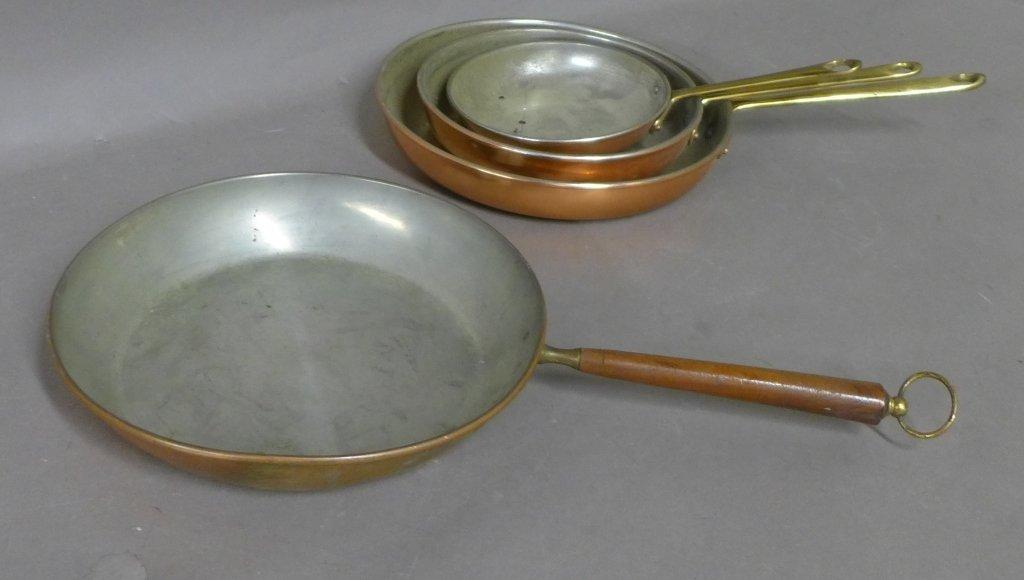 Vintage Portuguese Copral Copper Skillet Set - 2