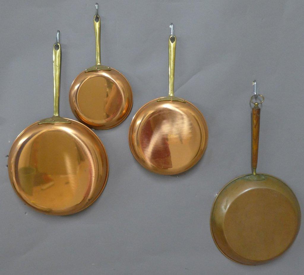 Vintage Portuguese Copral Copper Skillet Set - 6