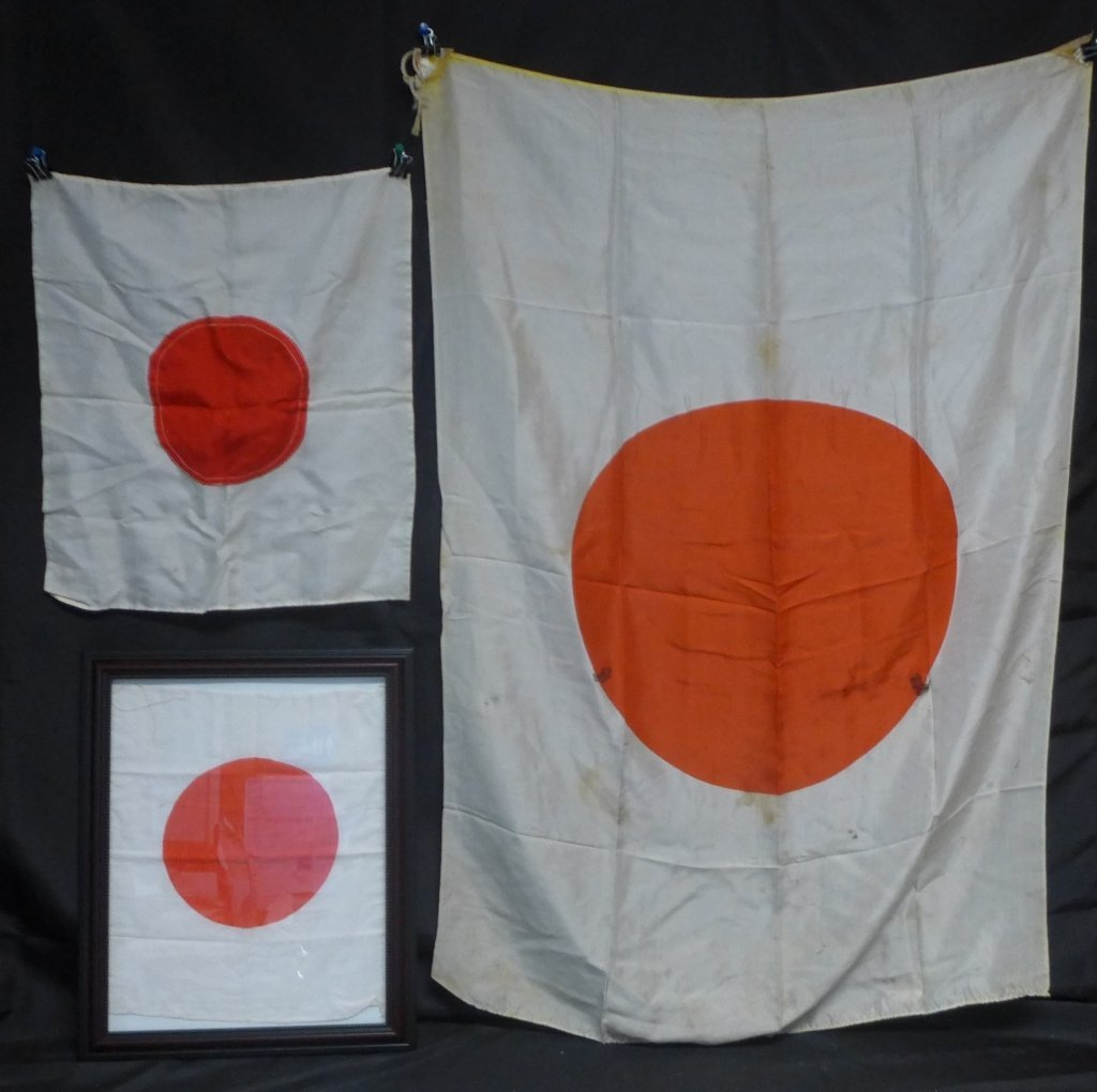 Set of 3 Japanese WWII Meatball Flags