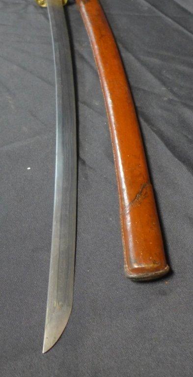 Signed WWII Japanese Katana with Leather Sheath - 8