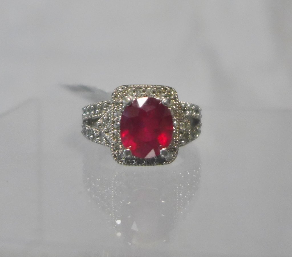 Diamond & Ruby Solitaire Ring - 5
