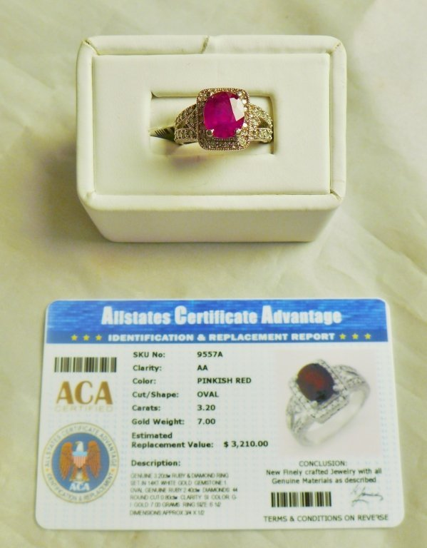 Diamond & Ruby Solitaire Ring - 8