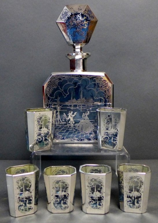 Intricate Blue Glass & Silver Overlay Cordial Set