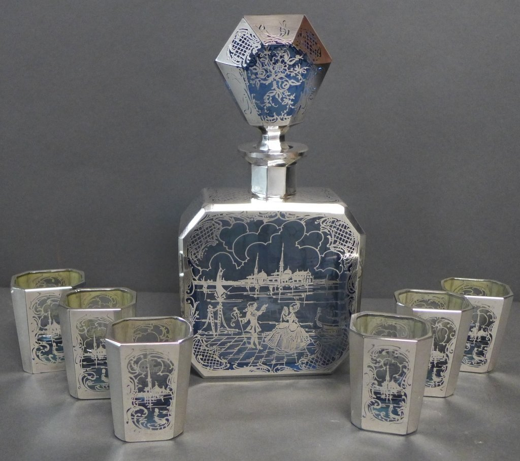 Intricate Blue Glass & Silver Overlay Cordial Set - 2