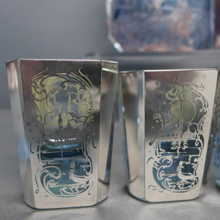 Intricate Blue Glass & Silver Overlay Cordial Set - 5