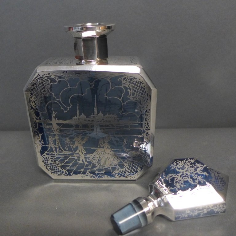 Intricate Blue Glass & Silver Overlay Cordial Set - 7