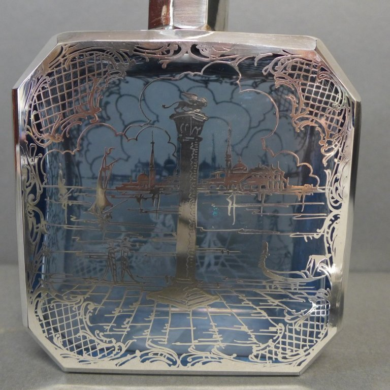 Intricate Blue Glass & Silver Overlay Cordial Set - 8