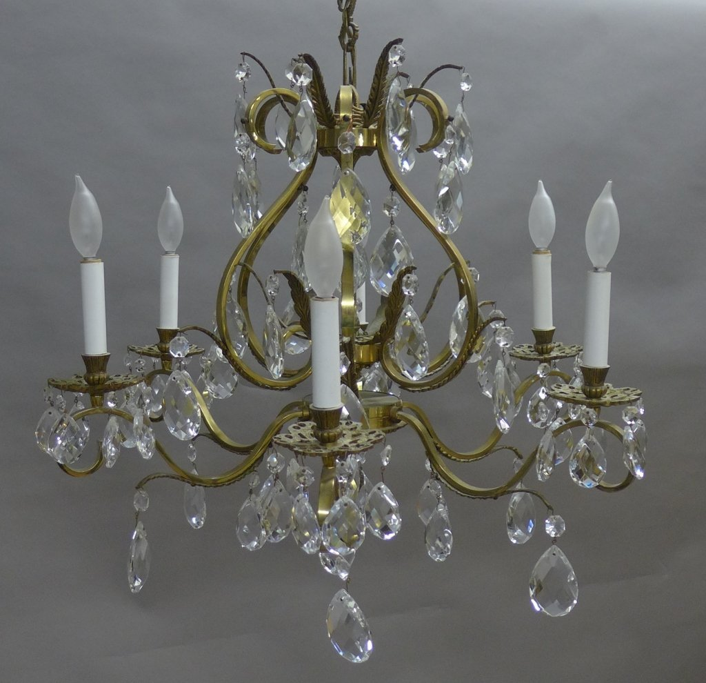 Vintage Brass and Crystal Chandelier - 2