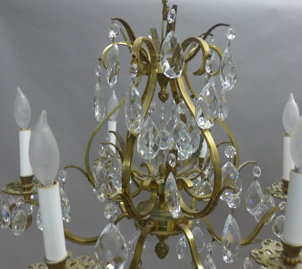 Vintage Brass and Crystal Chandelier - 3