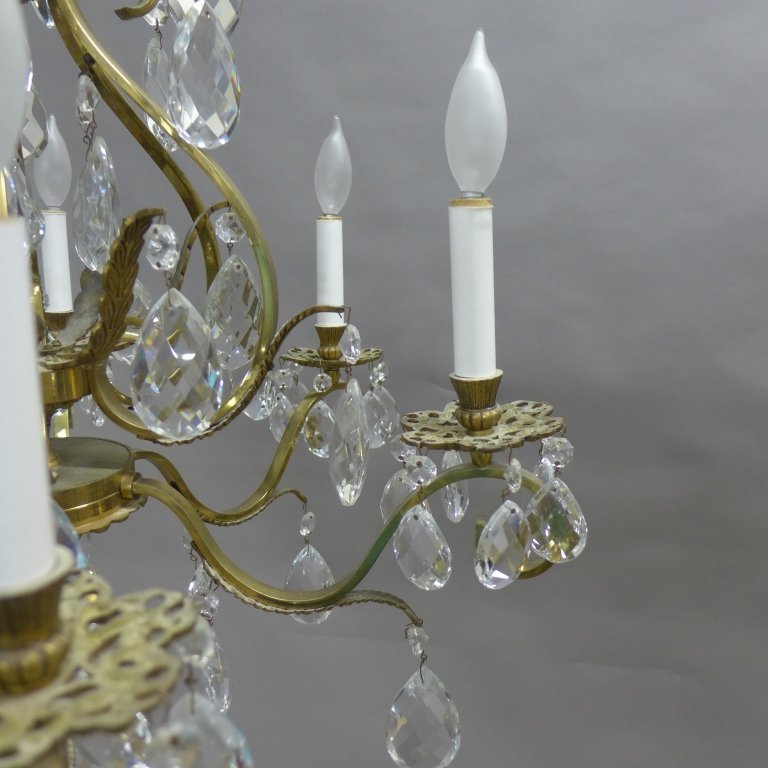 Vintage Brass and Crystal Chandelier - 4