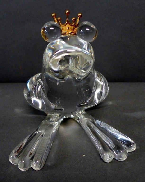 Steuben Glass Frog Prince w/ 18K Gold Crown
