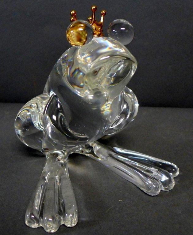 Steuben Glass Frog Prince w/ 18K Gold Crown - 2