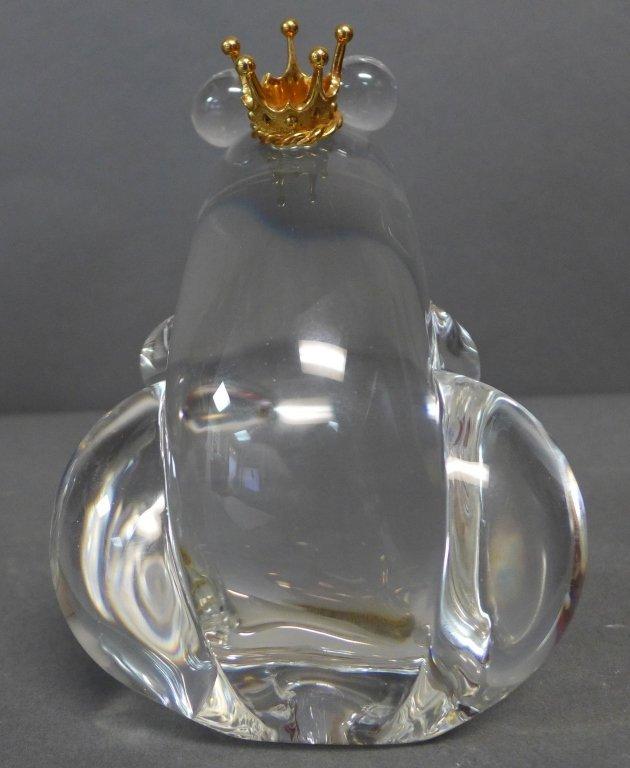 Steuben Glass Frog Prince w/ 18K Gold Crown - 3