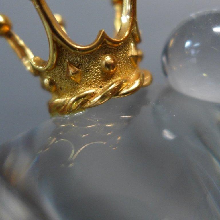 Steuben Glass Frog Prince w/ 18K Gold Crown - 6