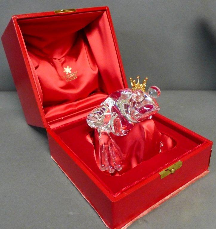 Steuben Glass Frog Prince w/ 18K Gold Crown - 7