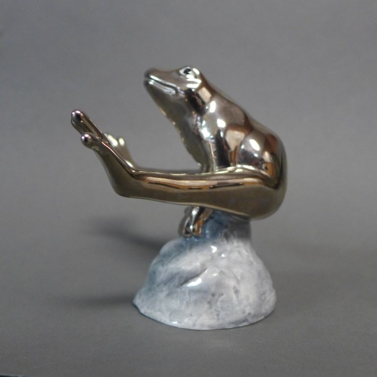 Royal Copenhagen Silvered Jumping Frog Figurine