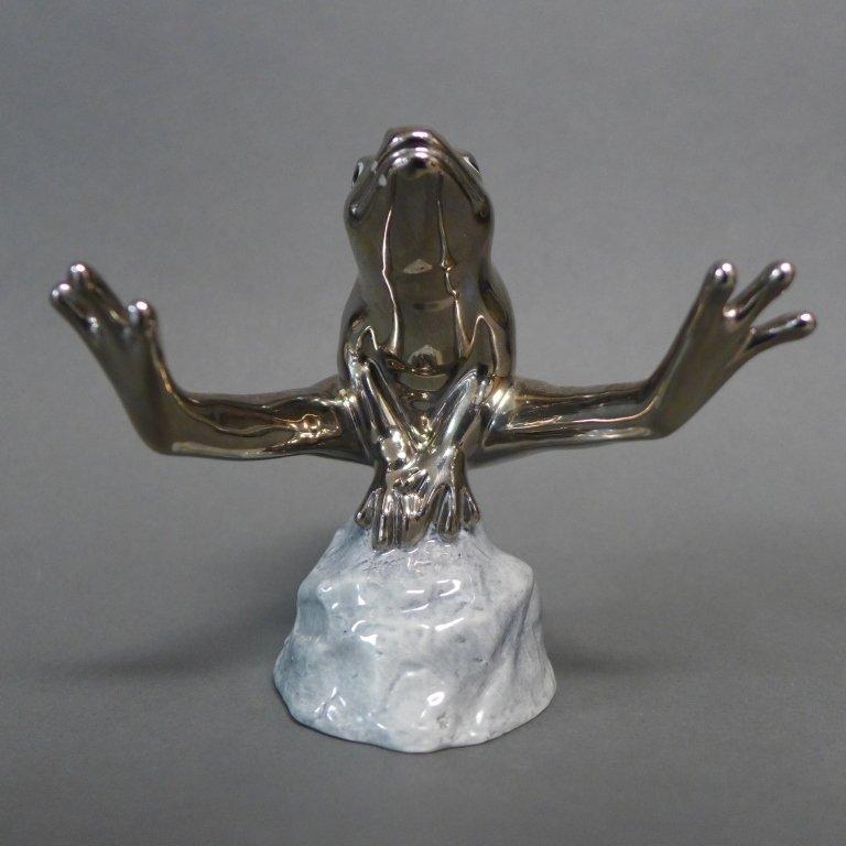 Royal Copenhagen Silvered Jumping Frog Figurine - 2