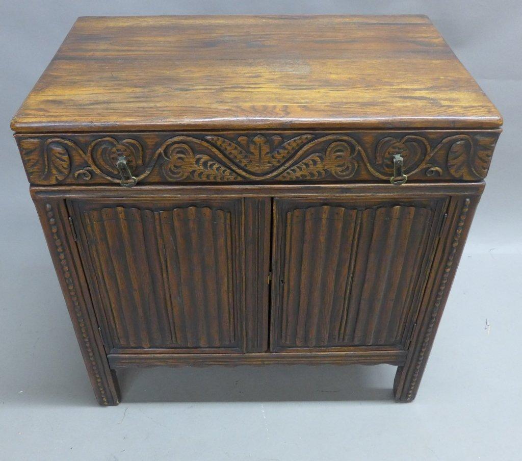 Linen Fold Oak Cabinet - 2