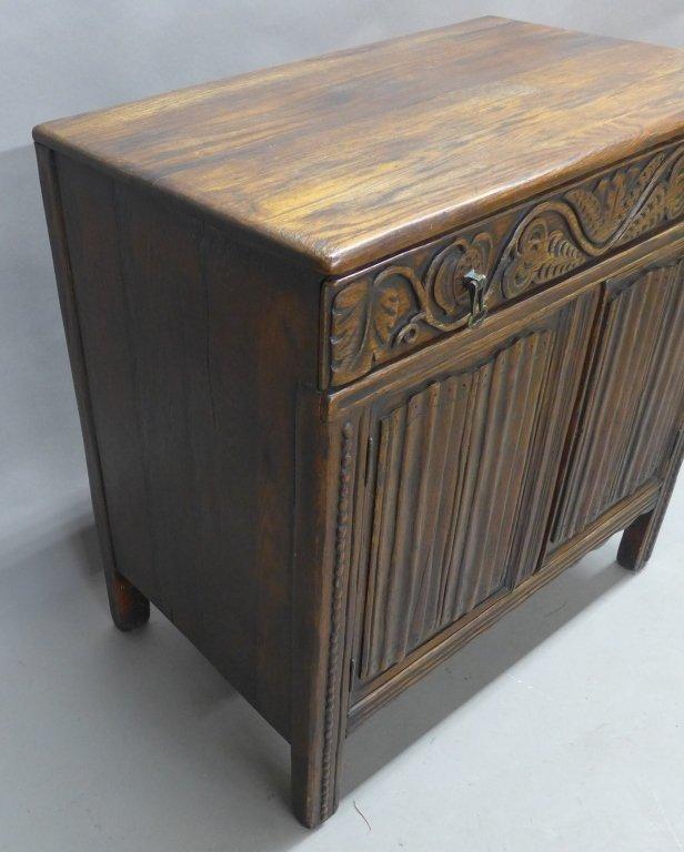 Linen Fold Oak Cabinet - 3