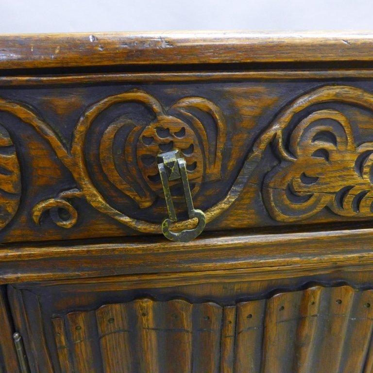 Linen Fold Oak Cabinet - 4
