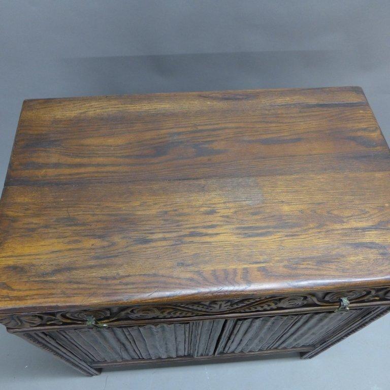 Linen Fold Oak Cabinet - 6
