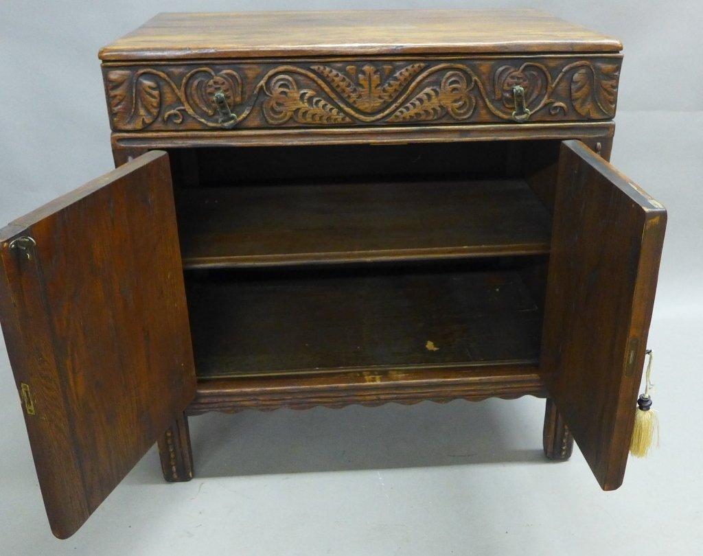 Linen Fold Oak Cabinet - 8