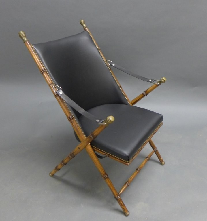 Modern Collapsible Faux Bamboo Campaign Chair - 10