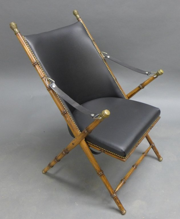 Modern Collapsible Faux Bamboo Campaign Chair