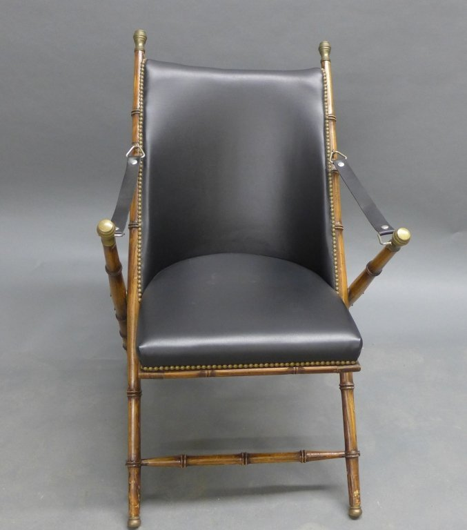 Modern Collapsible Faux Bamboo Campaign Chair - 2