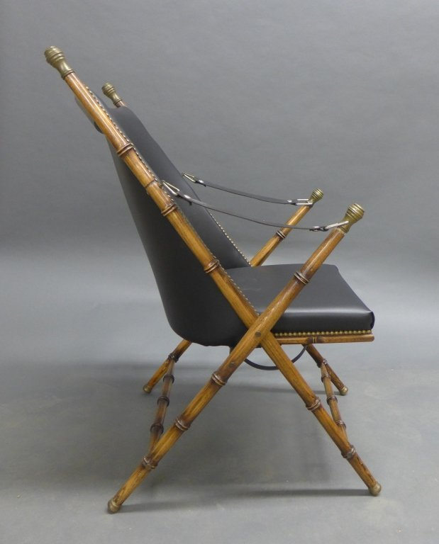 Modern Collapsible Faux Bamboo Campaign Chair - 3