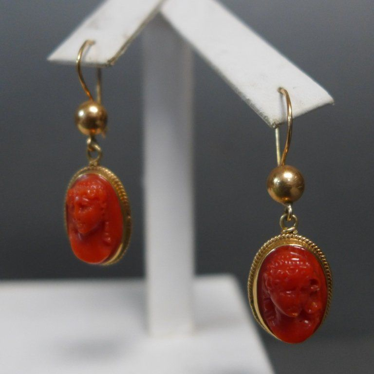 14 K Gold and Coral Cameo Earrings