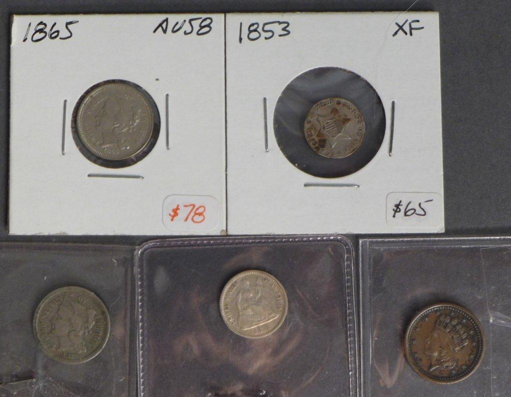 Assortment of 3 Cent & 5 Cent Coins
