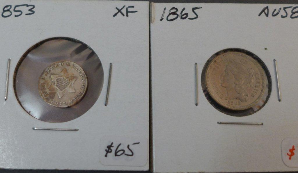 Assortment of 3 Cent & 5 Cent Coins - 3