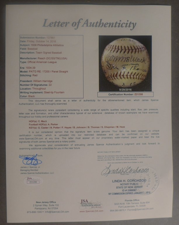 1938 Philadelphia Athletics Team Signed Ball w/JSA - 10