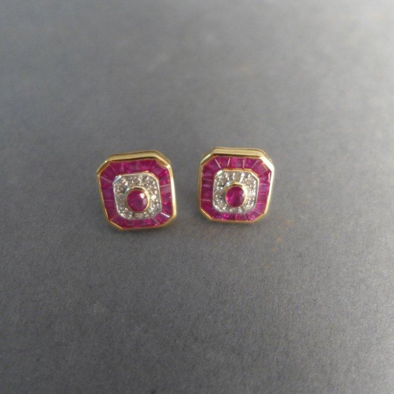 Diamond, Pink Gem Stone & Gold Earrings - 10
