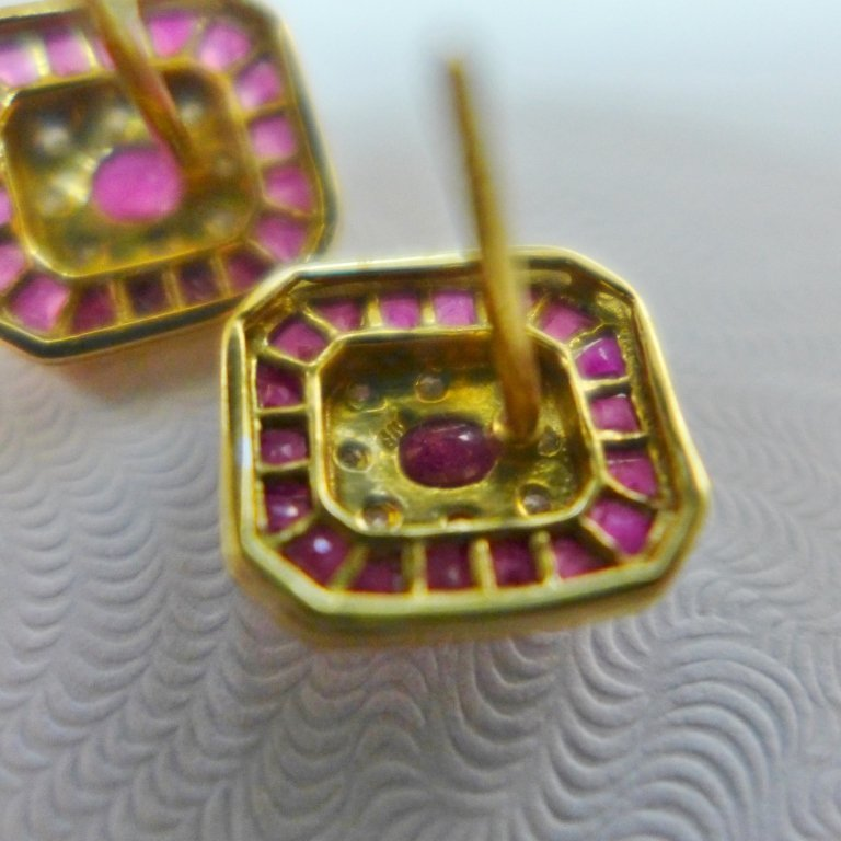 Diamond, Pink Gem Stone & Gold Earrings - 2