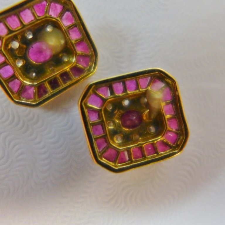 Diamond, Pink Gem Stone & Gold Earrings - 3