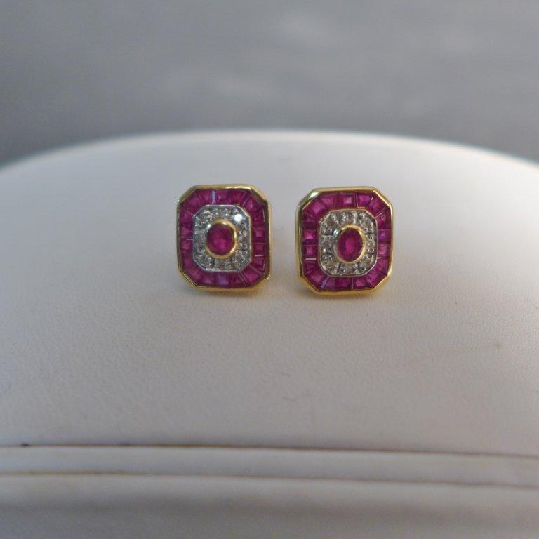 Diamond, Pink Gem Stone & Gold Earrings - 4
