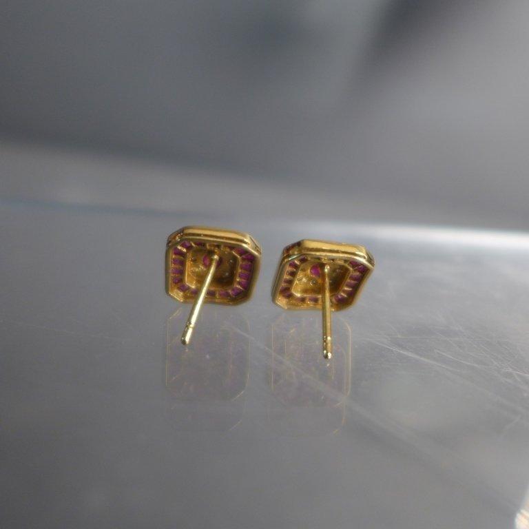 Diamond, Pink Gem Stone & Gold Earrings - 6