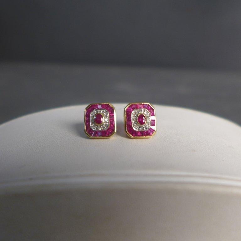 Diamond, Pink Gem Stone & Gold Earrings - 7