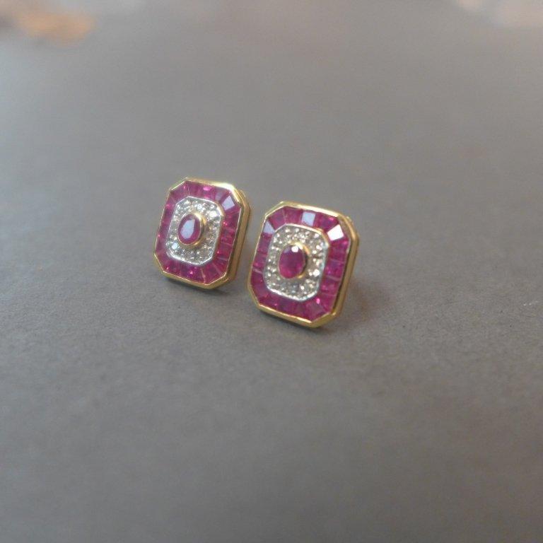 Diamond, Pink Gem Stone & Gold Earrings - 9