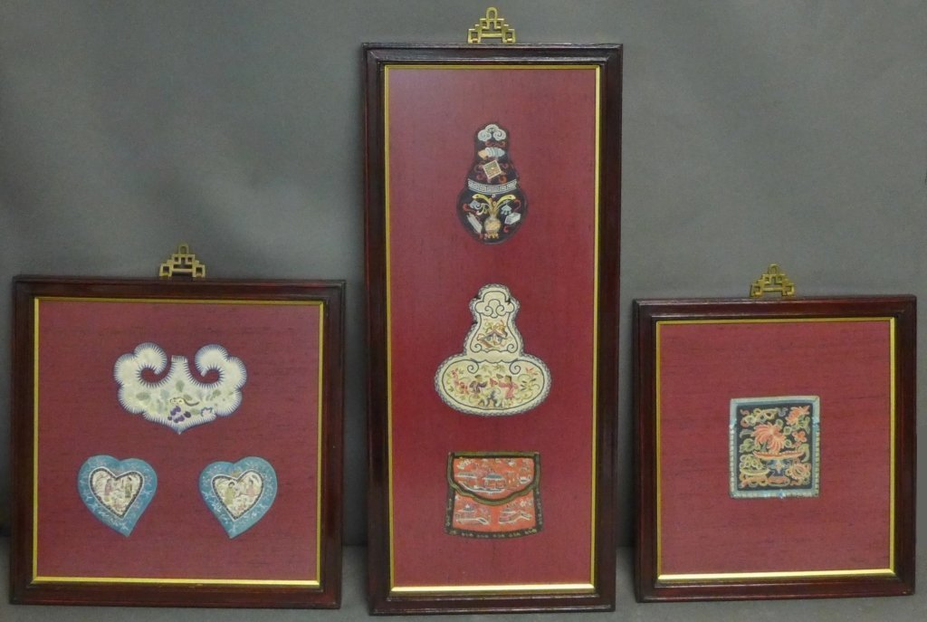Set of Three Framed Chinese Silk Embroideries