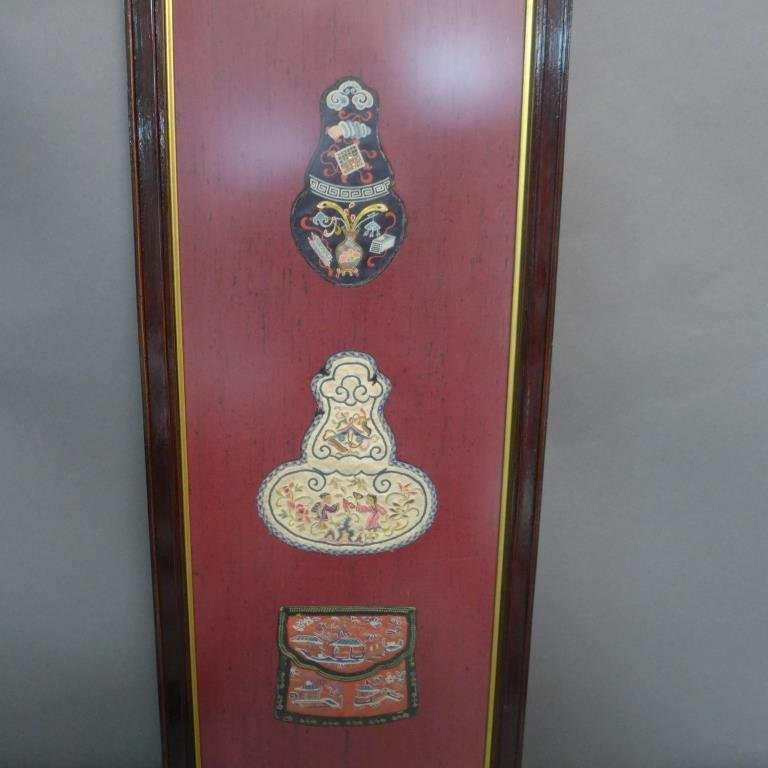 Set of Three Framed Chinese Silk Embroideries - 3