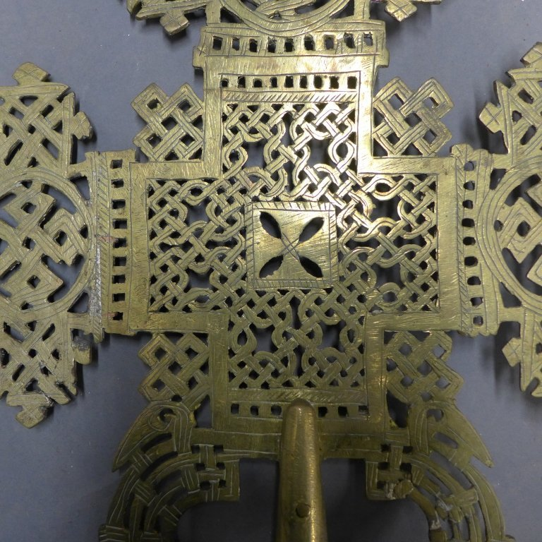 Pierced and Etched Brass Procession Cross - 6