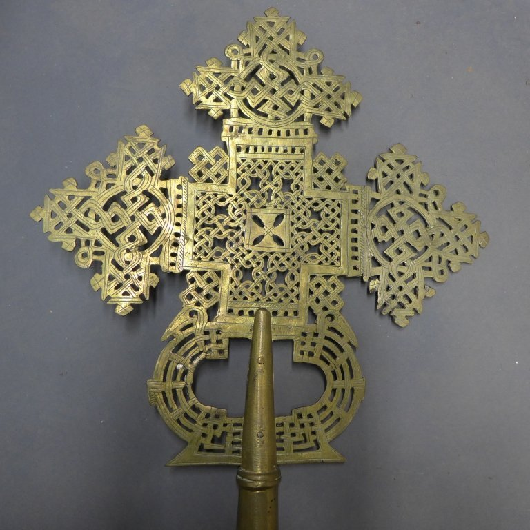 Pierced and Etched Brass Procession Cross - 9