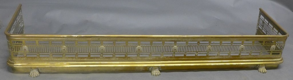 Pierced Brass Lion's Paw Fireplace Fender