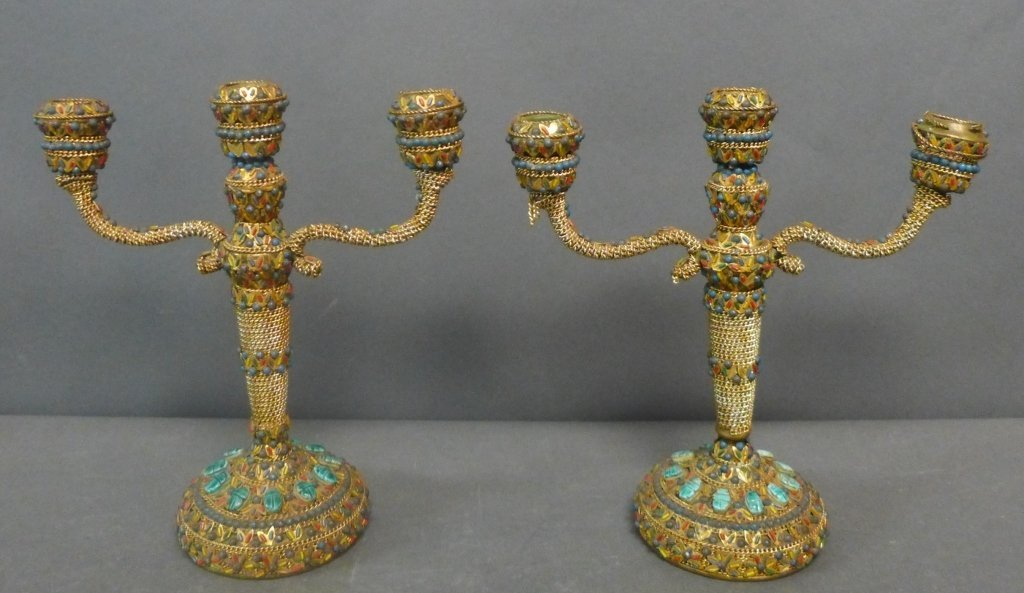 Bronze Anglo Indian Scarab Candelabra