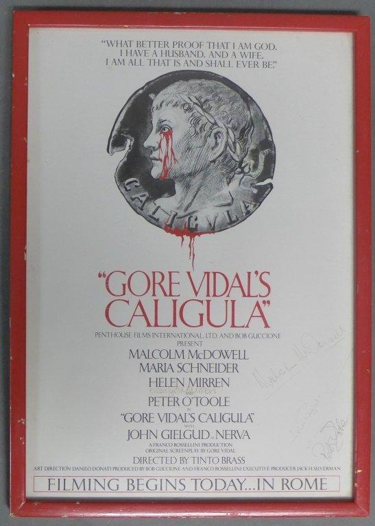 Gore Vidal's Caligula Poster w/ Autographs